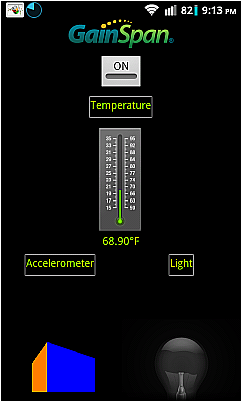 Screenshot of Android app WiFi<br />connected to RL78 Demo board.<br />Note sensor readings
